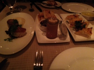 scallops, the foie gras and the shrimp toast